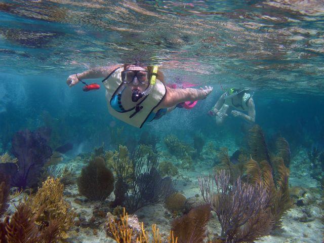 Kynslie snorkeling on Andros Island