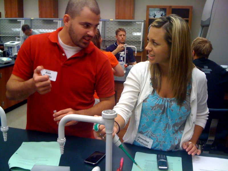 Alex & Jennifer discuss the finer points of pipetting.