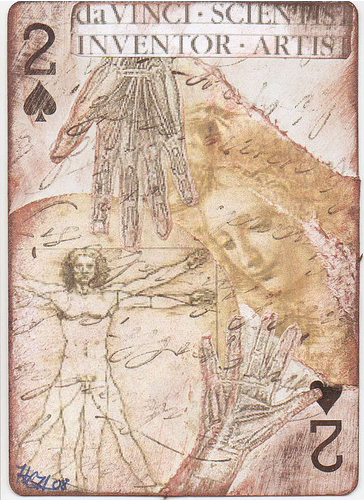 altered playing card - inspiration - davinci
