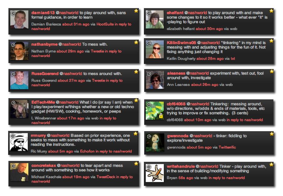 tweeps on tinkering